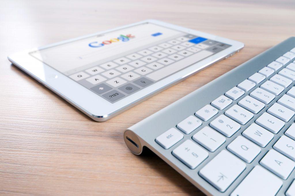 iPad and keyboard on table